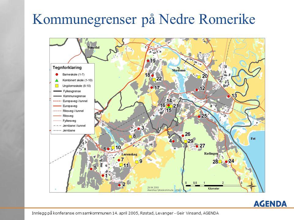 Innlegg på konferanse om samkommunen 14. april 2005, Røstad, Levanger - Geir Vinsand, AGENDA Kommunegrenser på Nedre Romerike