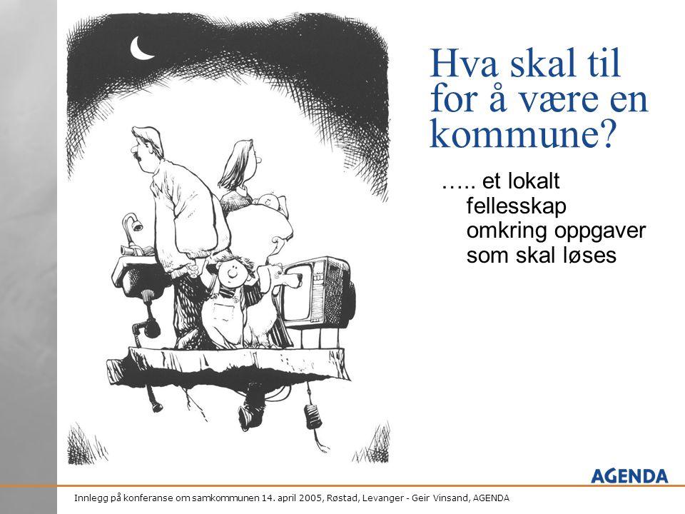 Innlegg på konferanse om samkommunen 14. april 2005, Røstad, Levanger - Geir Vinsand, AGENDA Hva skal til for å være en kommune? ….. et lokalt felless