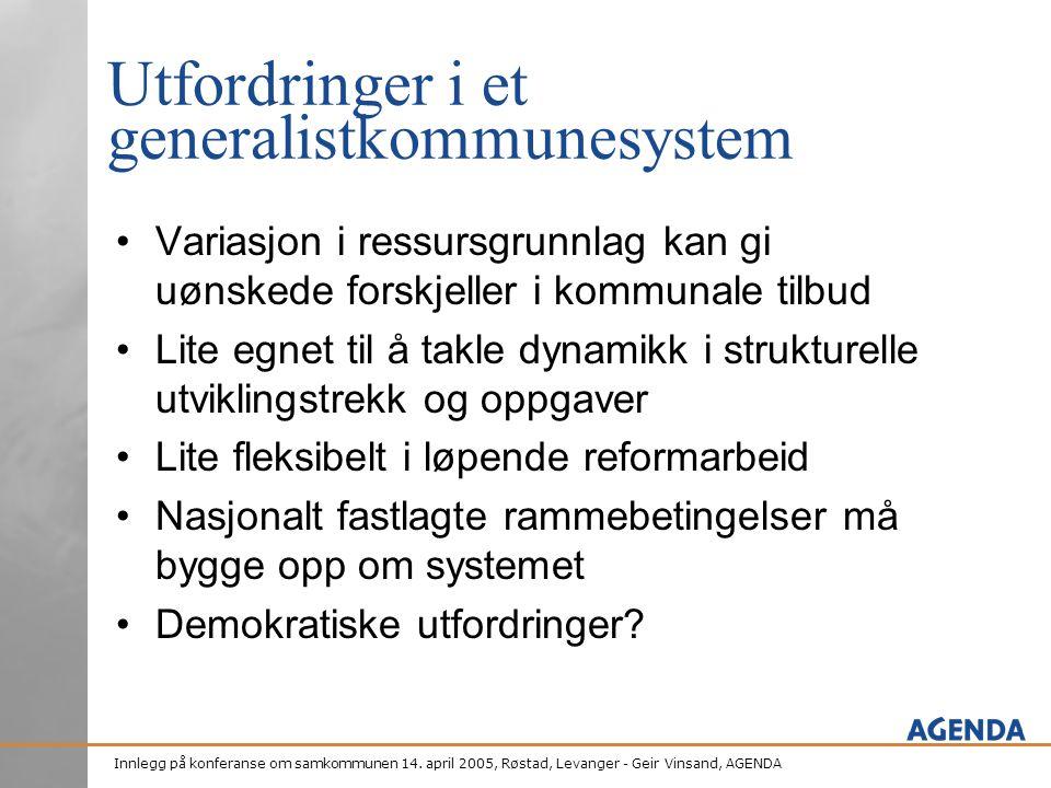 Innlegg på konferanse om samkommunen 14. april 2005, Røstad, Levanger - Geir Vinsand, AGENDA Utfordringer i et generalistkommunesystem •Variasjon i re