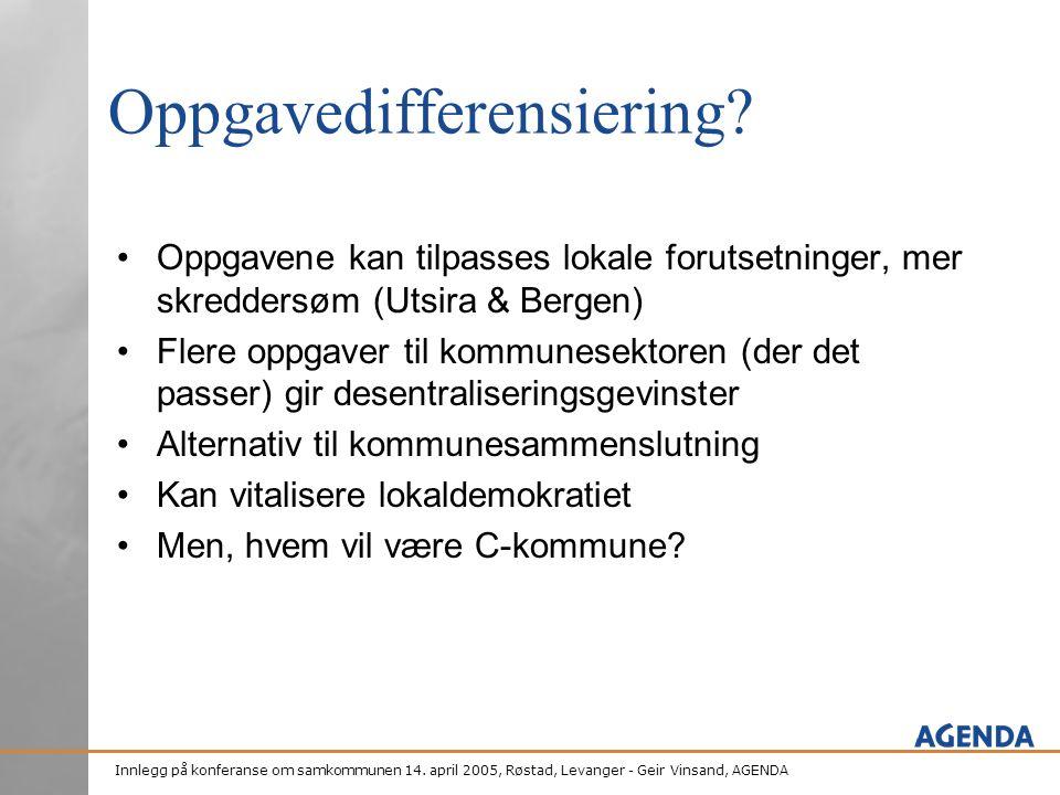 Innlegg på konferanse om samkommunen 14. april 2005, Røstad, Levanger - Geir Vinsand, AGENDA Oppgavedifferensiering? •Oppgavene kan tilpasses lokale f