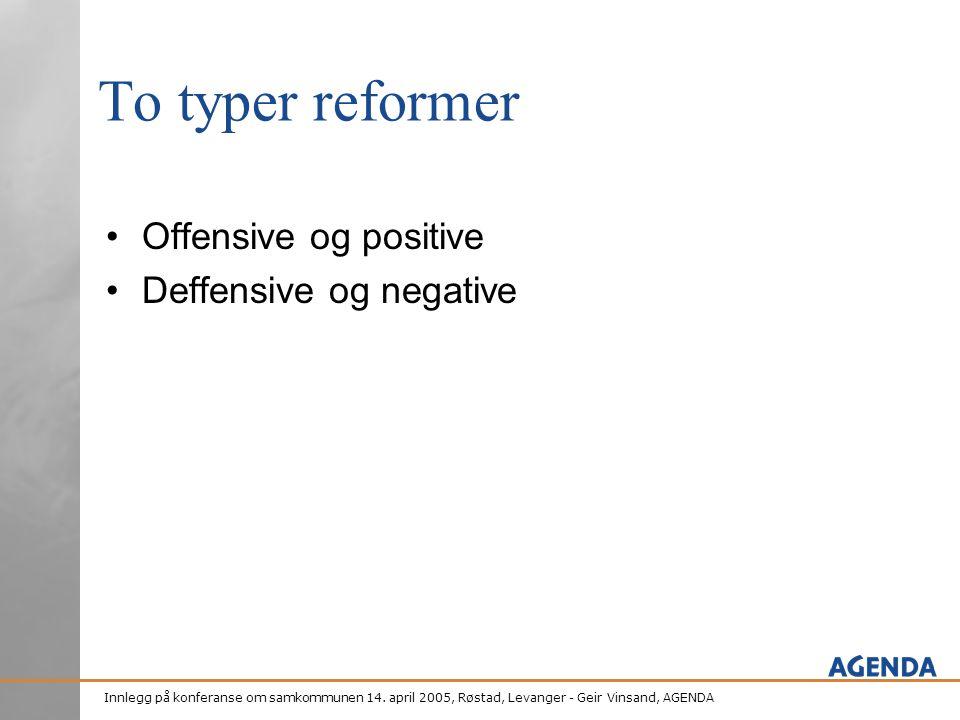 Innlegg på konferanse om samkommunen 14. april 2005, Røstad, Levanger - Geir Vinsand, AGENDA To typer reformer •Offensive og positive •Deffensive og n