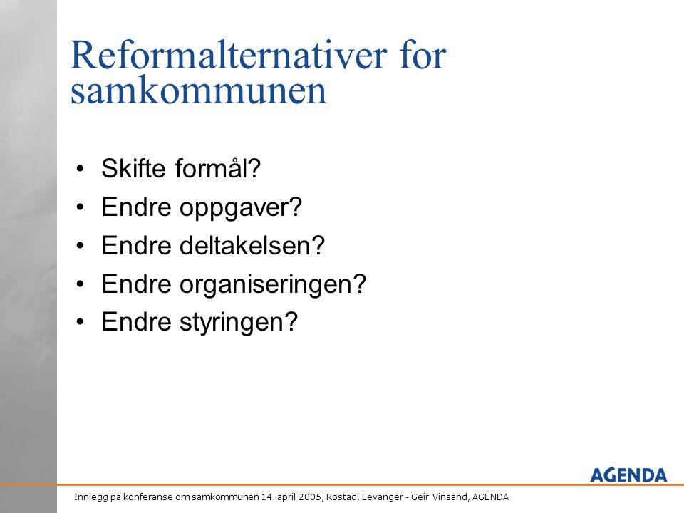 Innlegg på konferanse om samkommunen 14. april 2005, Røstad, Levanger - Geir Vinsand, AGENDA Reformalternativer for samkommunen •Skifte formål? •Endre