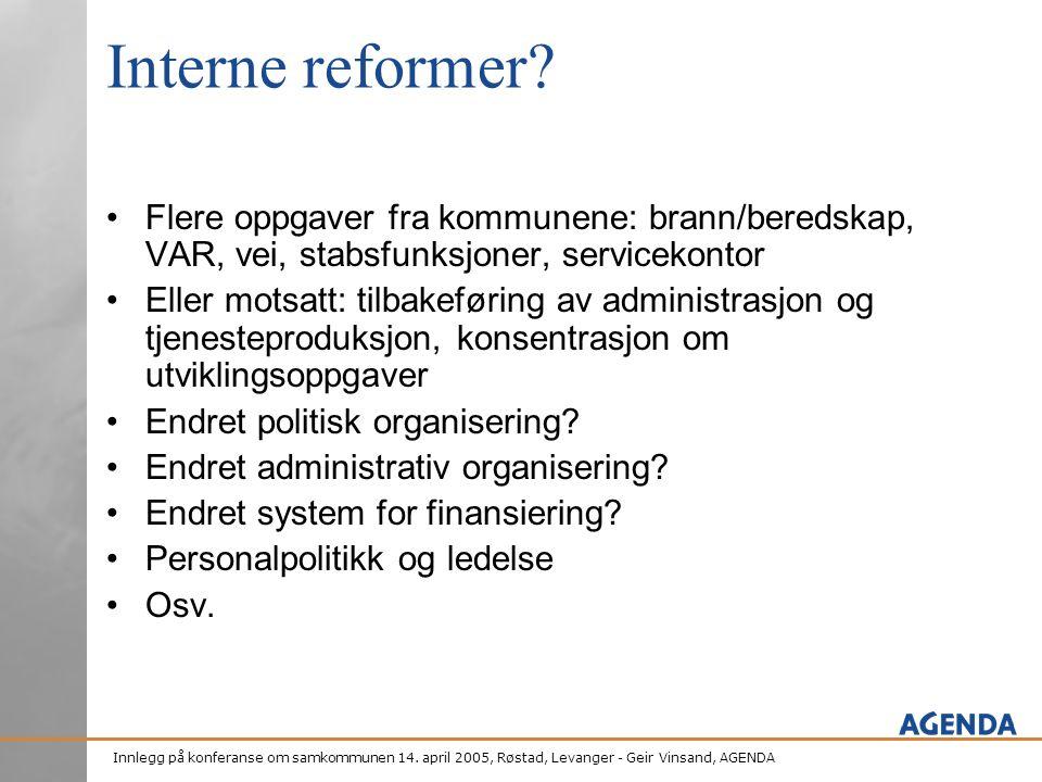 Innlegg på konferanse om samkommunen 14. april 2005, Røstad, Levanger - Geir Vinsand, AGENDA Interne reformer? •Flere oppgaver fra kommunene: brann/be