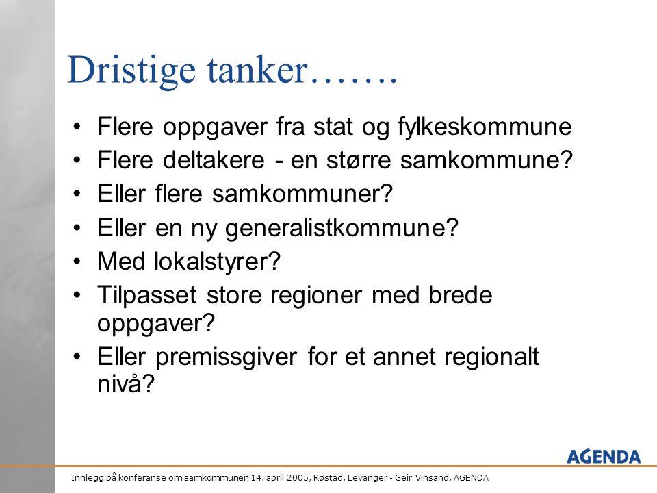 Innlegg på konferanse om samkommunen 14. april 2005, Røstad, Levanger - Geir Vinsand, AGENDA Dristige tanker……. •Flere oppgaver fra stat og fylkeskomm