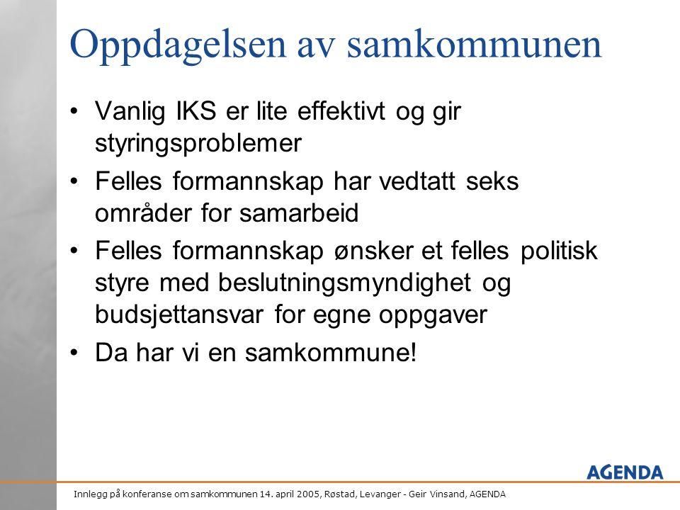 Innlegg på konferanse om samkommunen 14. april 2005, Røstad, Levanger - Geir Vinsand, AGENDA Oppdagelsen av samkommunen •Vanlig IKS er lite effektivt
