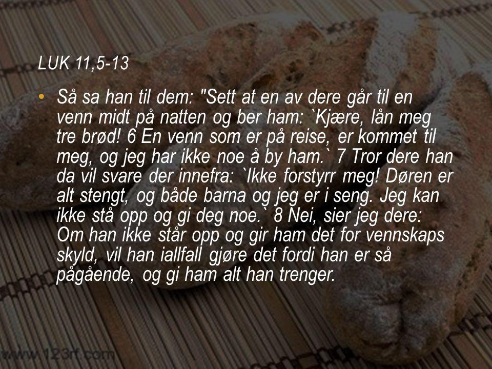 LUK 11,5-13 • 9 Jeg sier dere: Be, så skal dere få.