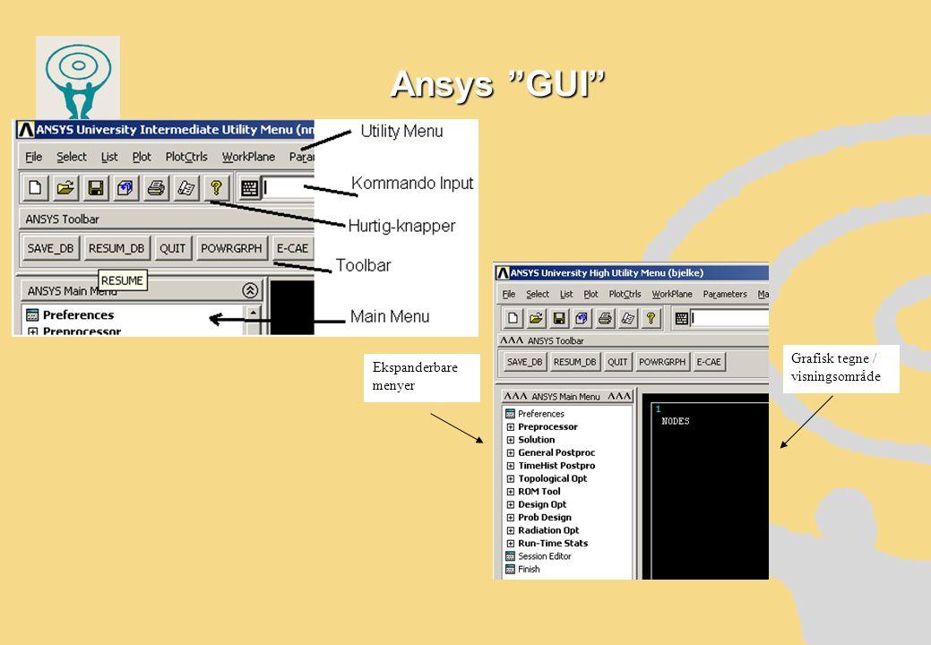 Ansys GUI Ekspanderbare menyer Grafisk tegne / visningsområde
