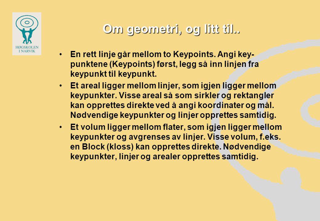 Om geometri, og litt til..•En rett linje går mellom to Keypoints.