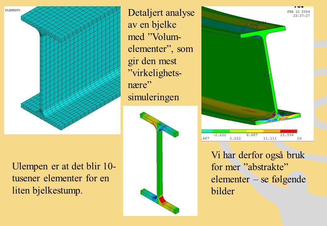 Detaljert analyse av en bjelke med Volum- elementer , som gir den mest virkelighets- nære simuleringen Ulempen er at det blir 10- tusener elementer for en liten bjelkestump.