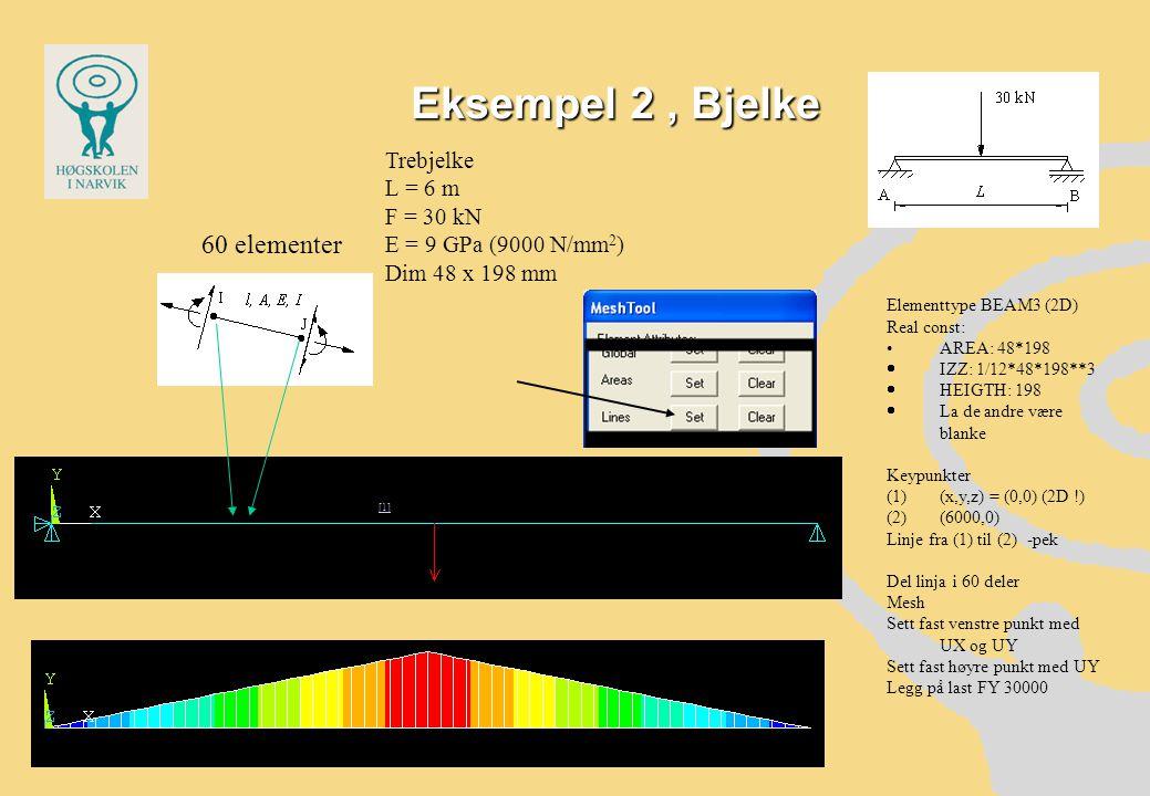 Eksempel 2, Bjelke Elementtype BEAM3 (2D) Real const: •AREA: 48*198  IZZ: 1/12*48*198**3  HEIGTH: 198  La de andre være blanke Keypunkter (1)(x,y,z) = (0,0) (2D !) (2)(6000,0) Linje fra (1) til (2) -pek Del linja i 60 deler Mesh Sett fast venstre punkt med UX og UY Sett fast høyre punkt med UY Legg på last FY 30000 [1] [1] Alle input-felt i Ansys tar regnestykker Trebjelke L = 6 m F = 30 kN E = 9 GPa (9000 N/mm 2 ) Dim 48 x 198 mm 60 elementer