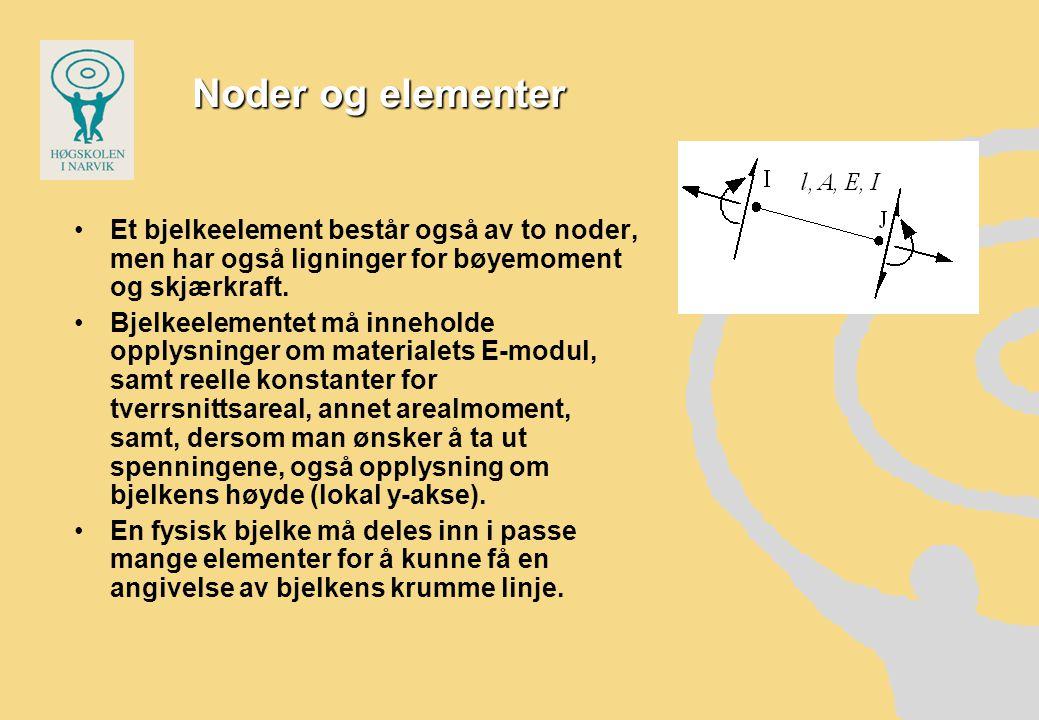Noder og elementer •Et bjelkeelement består også av to noder, men har også ligninger for bøyemoment og skjærkraft.