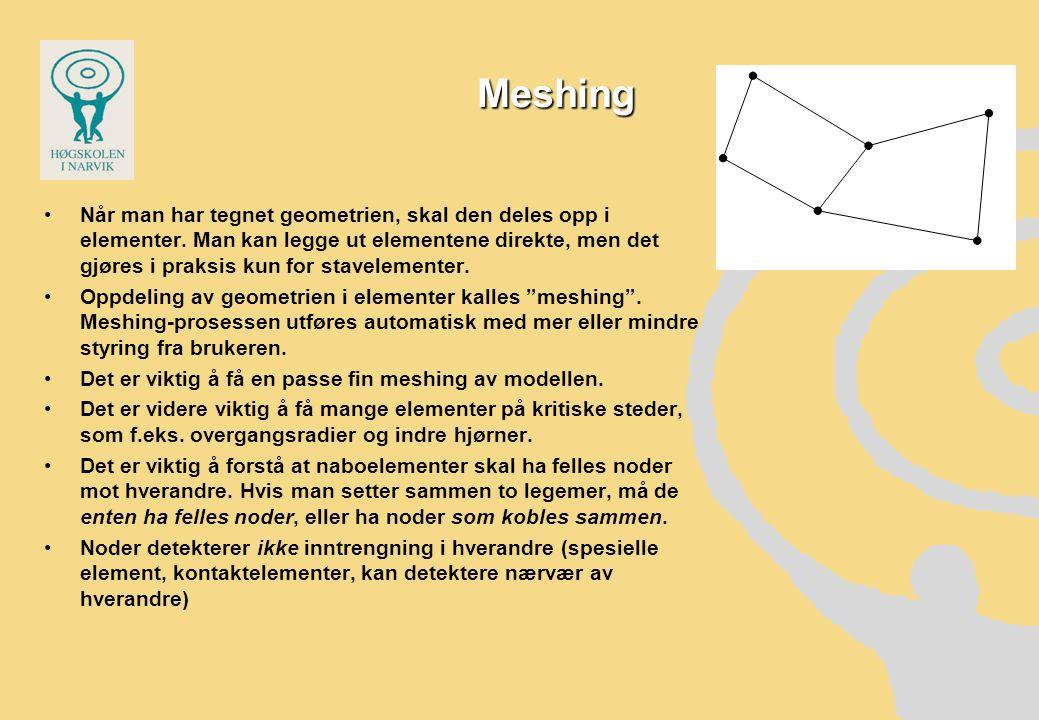Meshing •Når man har tegnet geometrien, skal den deles opp i elementer.