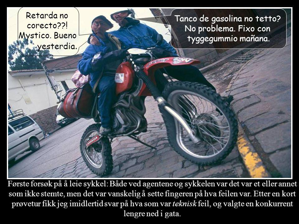 Første forsøk på å leie sykkel: Både ved agentene og sykkelen var det var et eller annet som ikke stemte, men det var vanskelig å sette fingeren på hva feilen var.