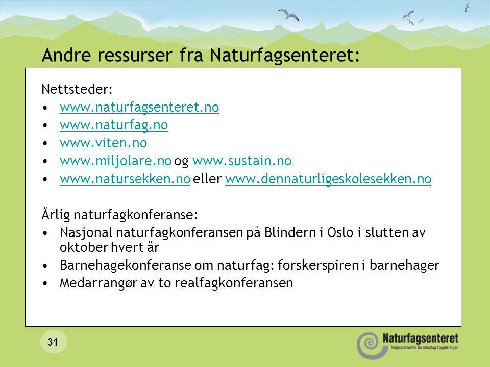 31 Andre ressurser fra Naturfagsenteret: Nettsteder: •www.naturfagsenteret.nowww.naturfagsenteret.no •www.naturfag.nowww.naturfag.no •www.viten.nowww.