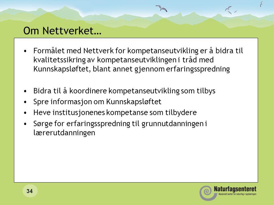 34 Om Nettverket… •Formålet med Nettverk for kompetanseutvikling er å bidra til kvalitetssikring av kompetanseutviklingen i tråd med Kunnskapsløftet,