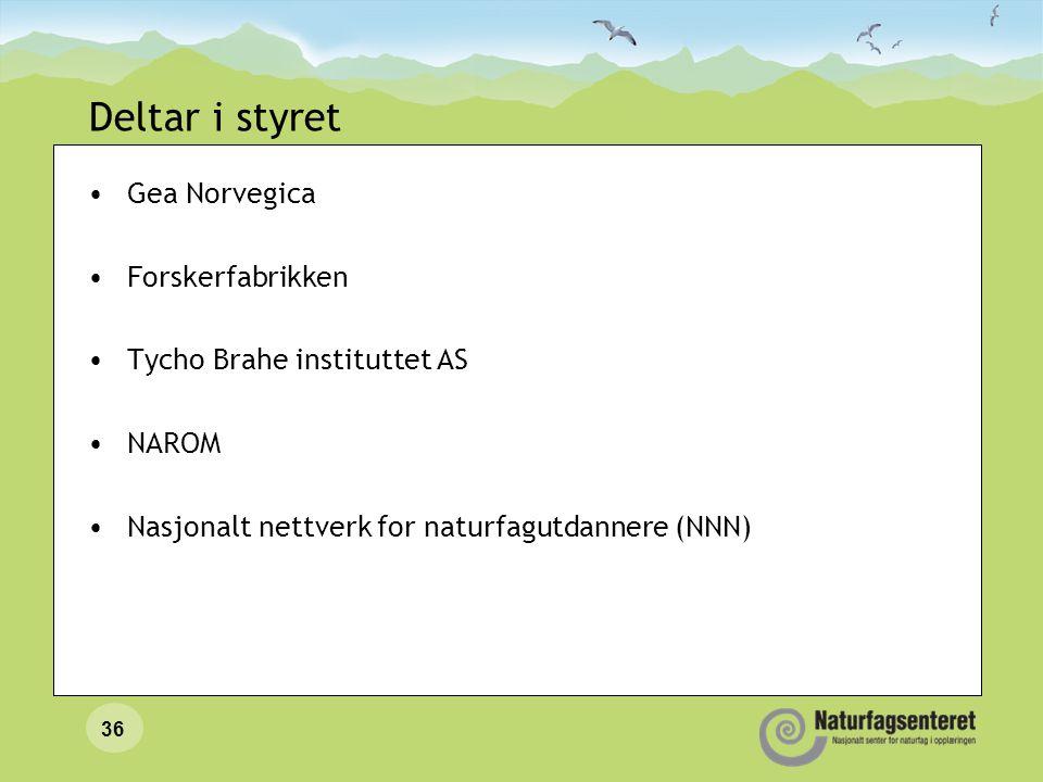 Deltar i styret •Gea Norvegica •Forskerfabrikken •Tycho Brahe instituttet AS •NAROM •Nasjonalt nettverk for naturfagutdannere (NNN) 36
