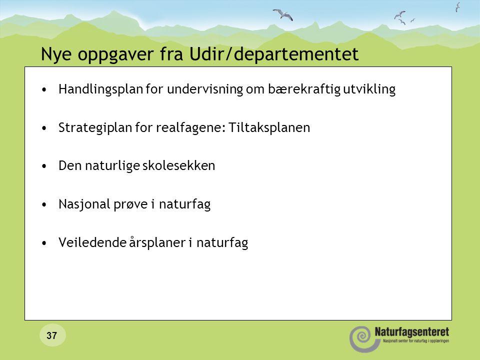 Nye oppgaver fra Udir/departementet •Handlingsplan for undervisning om bærekraftig utvikling •Strategiplan for realfagene: Tiltaksplanen •Den naturlig