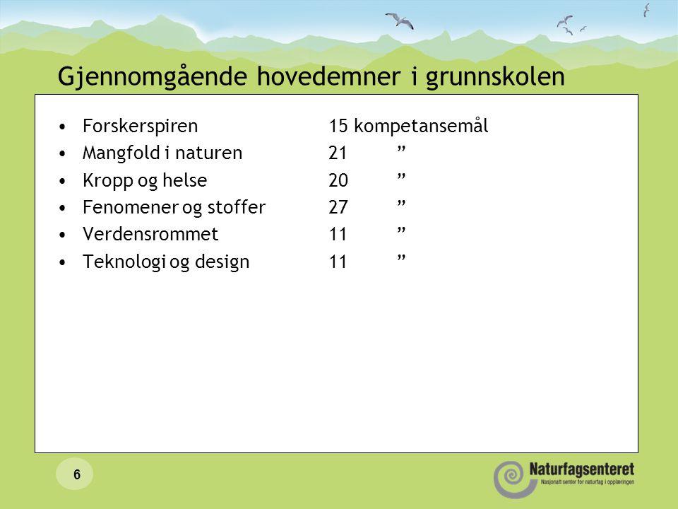 Læreplanen for naturfag •Kompetansemål etter –2.trinn –4.