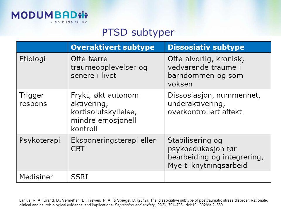 PTSD subtyper Overaktivert subtypeDissosiativ subtype EtiologiOfte færre traumeopplevelser og senere i livet Ofte alvorlig, kronisk, vedvarende traume i barndommen og som voksen Trigger respons Frykt, økt autonom aktivering, kortisolutskyllelse, mindre emosjonell kontroll Dissosiasjon, nummenhet, underaktivering, overkontrollert affekt PsykoterapiEksponeringsterapi eller CBT Stabilisering og psykoedukasjon før bearbeiding og integrering, Mye tilknytningsarbeid MedisinerSSRI Lanius, R.