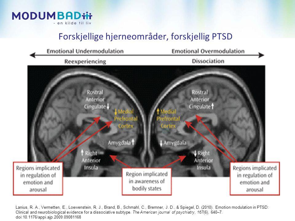 Forskjellige hjerneområder, forskjellig PTSD Lanius, R.