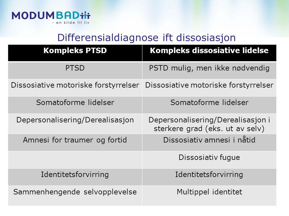 Differensialdiagnose ift dissosiasjon Kompleks PTSDKompleks dissosiative lidelse PTSDPSTD mulig, men ikke nødvendig Dissosiative motoriske forstyrrelser Somatoforme lidelser Depersonalisering/DerealisasjonDepersonalisering/Derealisasjon i sterkere grad (eks.