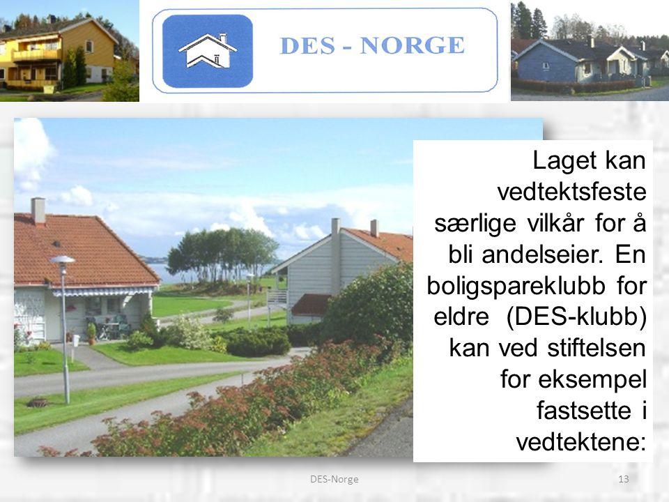 13DES-Norge Laget kan vedtektsfeste særlige vilkår for å bli andelseier. En boligspareklubb for eldre (DES-klubb) kan ved stiftelsen for eksempel fast