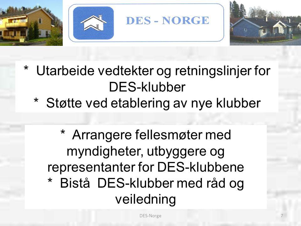 7DES-Norge * Arrangere fellesmøter med myndigheter, utbyggere og representanter for DES-klubbene * Bistå DES-klubber med råd og veiledning * Utarbeide