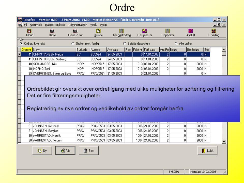 Ordrebildet gir oversikt over ordretilgang med ulike muligheter for sortering og filtrering. Det er fire filtreringsmuligheter. Registrering av nye or