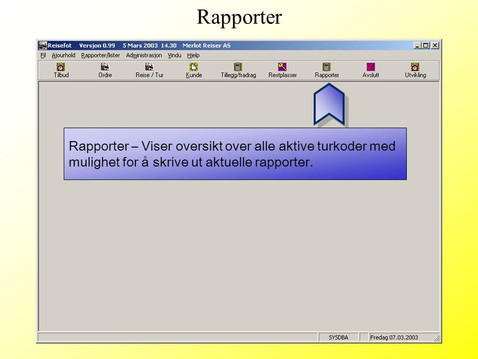 Rapporter – Viser oversikt over alle aktive turkoder med mulighet for å skrive ut aktuelle rapporter. Rapporter