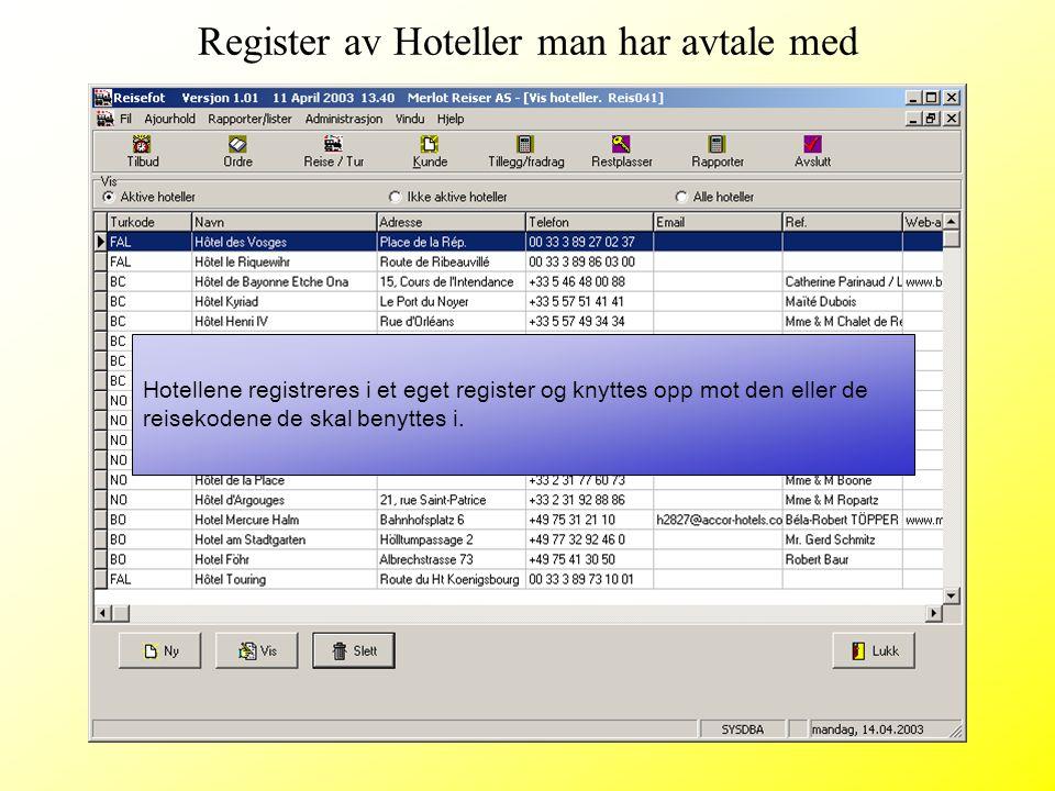 Hotellene registreres i et eget register og knyttes opp mot den eller de reisekodene de skal benyttes i. Register av Hoteller man har avtale med