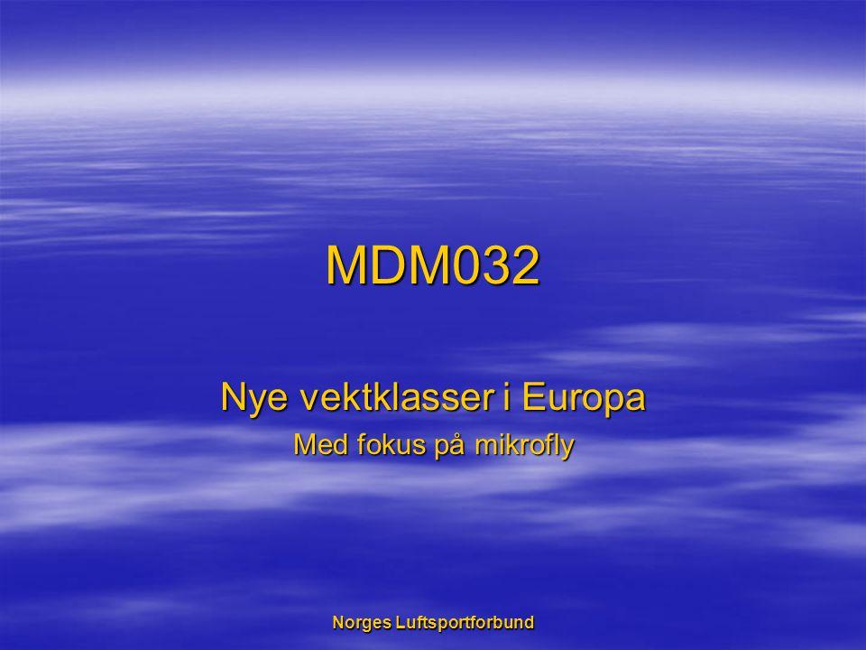 Norges Luftsportforbund MDM032 Nye vektklasser i Europa Med fokus på mikrofly
