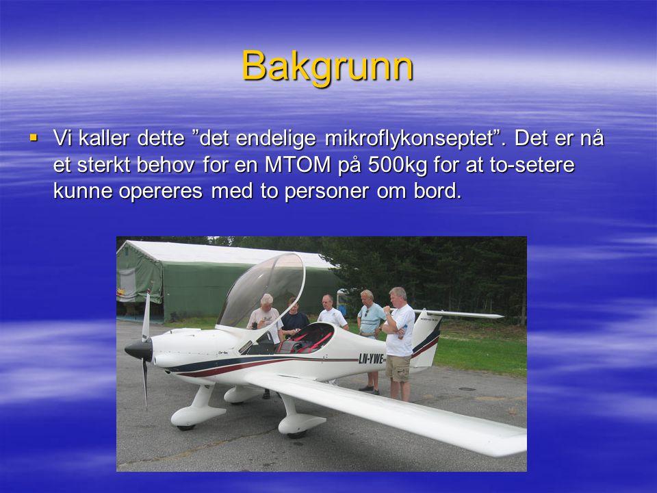 """Bakgrunn  Vi kaller dette """"det endelige mikroflykonseptet"""". Det er nå et sterkt behov for en MTOM på 500kg for at to-setere kunne opereres med to per"""