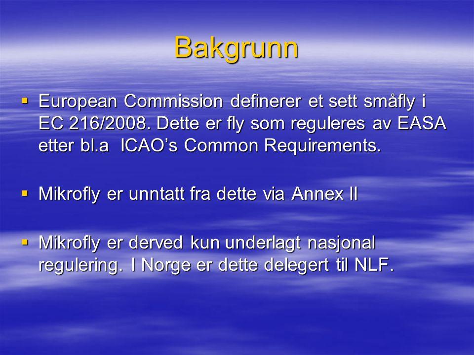 Bakgrunn  European Commission definerer et sett småfly i EC 216/2008. Dette er fly som reguleres av EASA etter bl.a ICAO's Common Requirements.  Mik