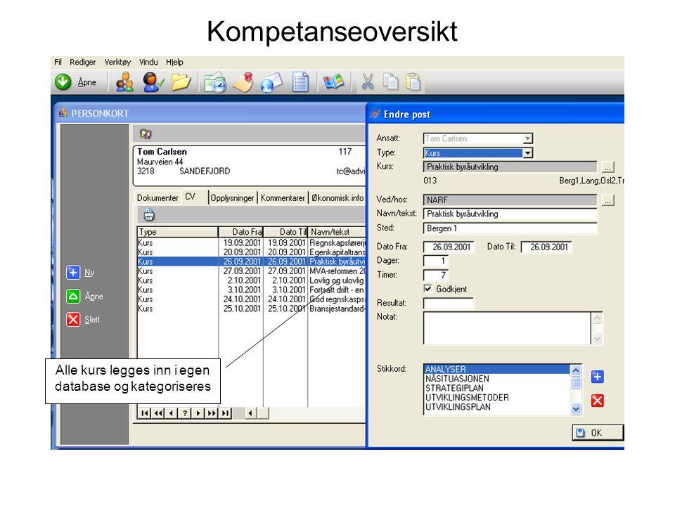Kompetanseoversikt Alle kurs legges inn i egen database og kategoriseres