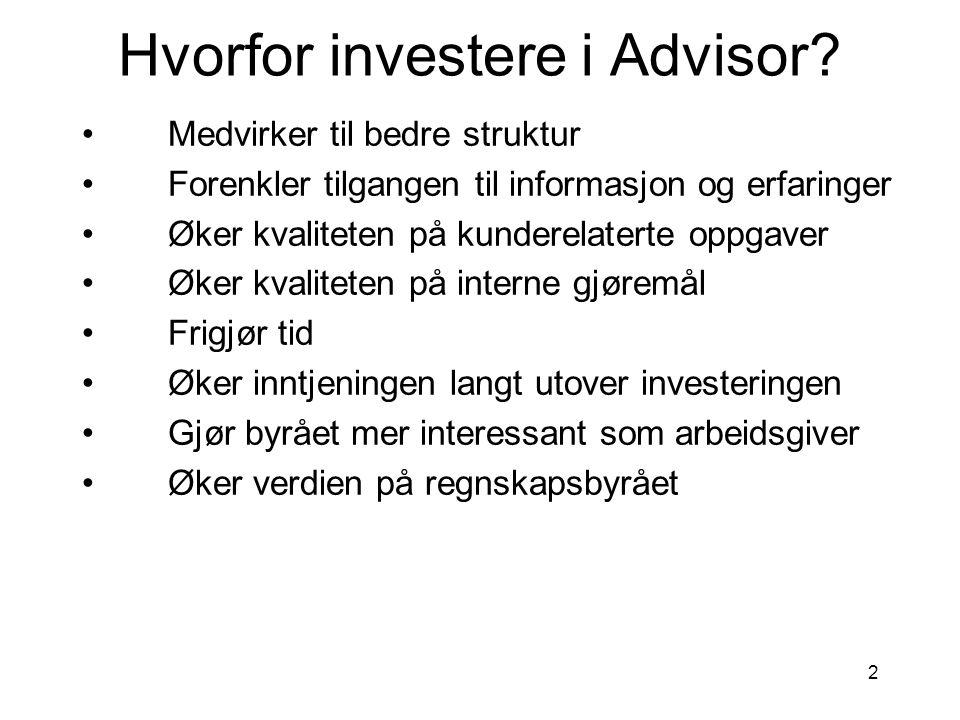 2 Hvorfor investere i Advisor? •Medvirker til bedre struktur •Forenkler tilgangen til informasjon og erfaringer •Øker kvaliteten på kunderelaterte opp