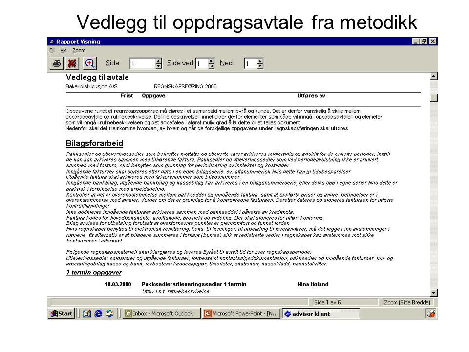 Vedlegg til oppdragsavtale fra metodikk
