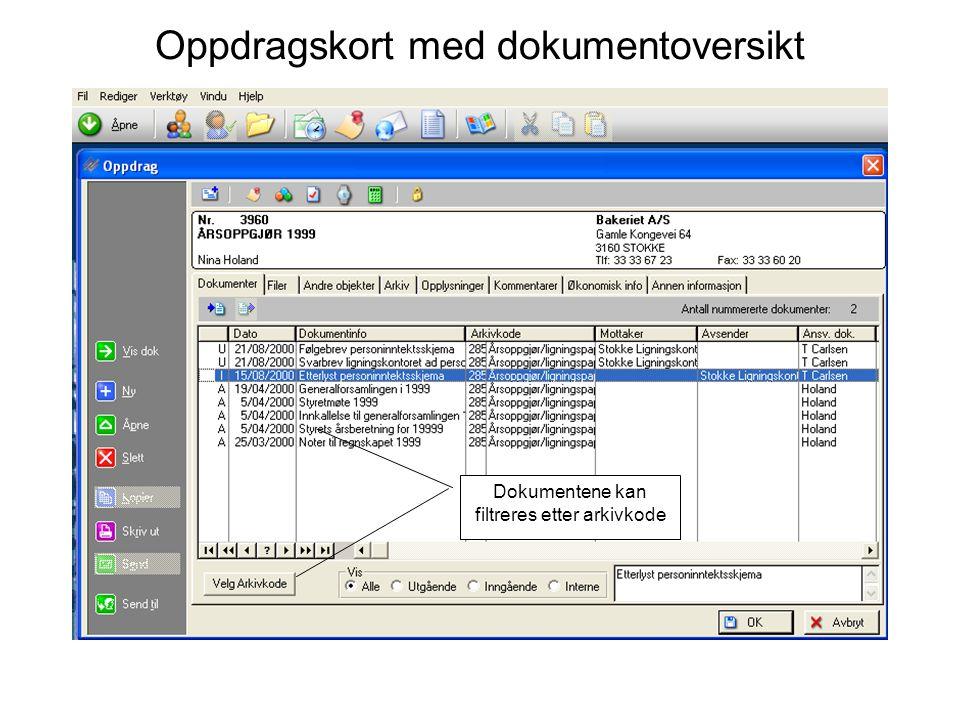 Oppdragskort med dokumentoversikt Dokumentene kan filtreres etter arkivkode
