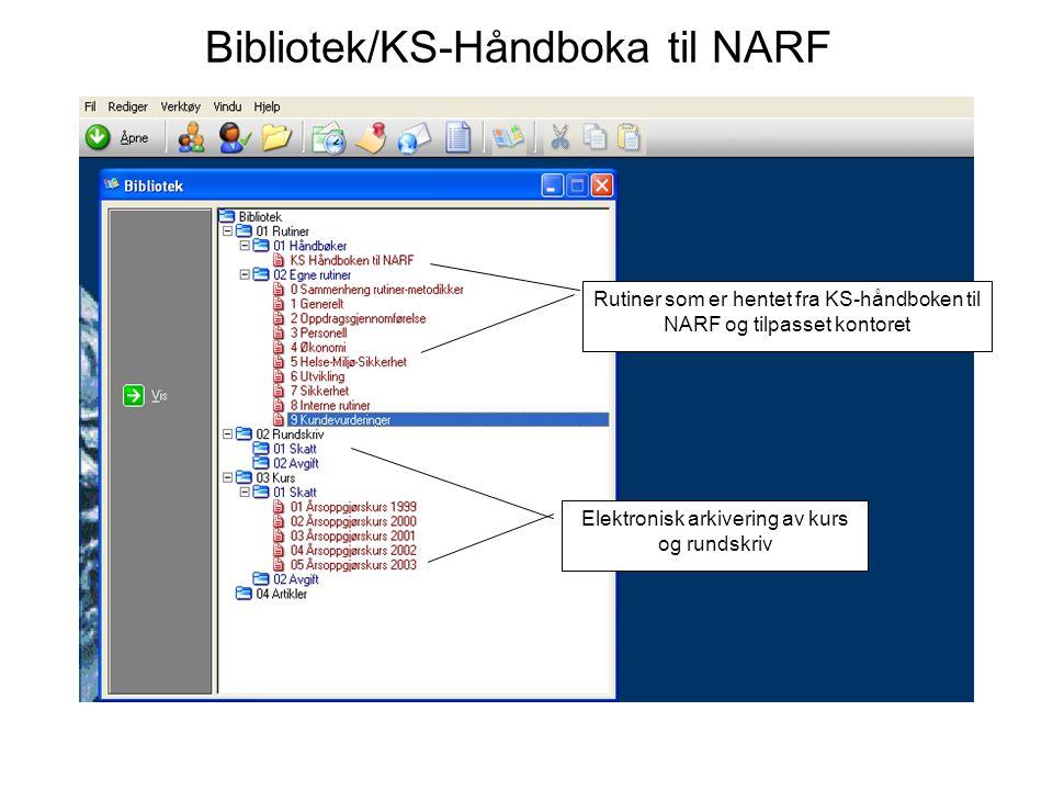 Bibliotek/KS-Håndboka til NARF Rutiner som er hentet fra KS-håndboken til NARF og tilpasset kontoret Elektronisk arkivering av kurs og rundskriv