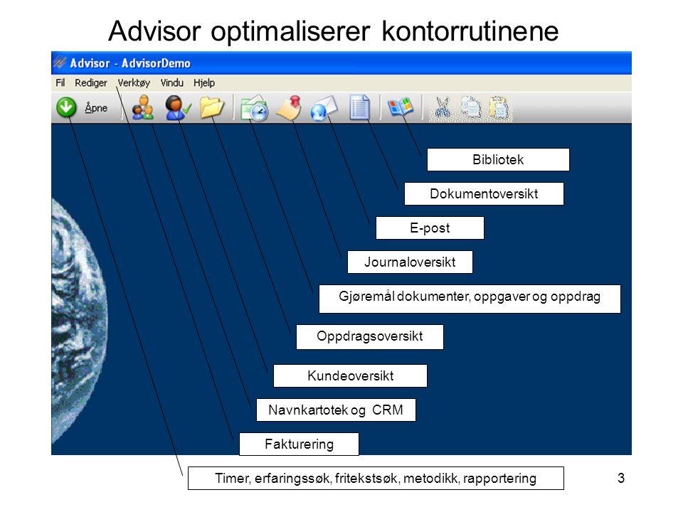 3 Advisor optimaliserer kontorrutinene Timer, erfaringssøk, fritekstsøk, metodikk, rapportering Navnkartotek og CRM Kundeoversikt Oppdragsoversikt Jou