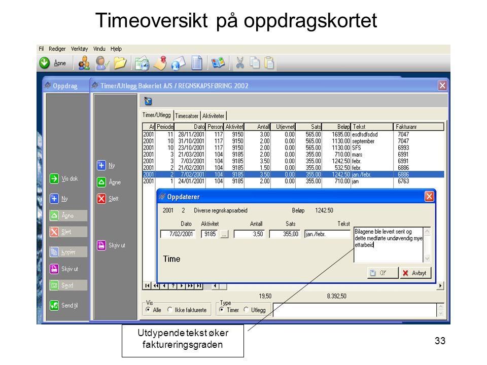 33 Timeoversikt på oppdragskortet Utdypende tekst øker faktureringsgraden