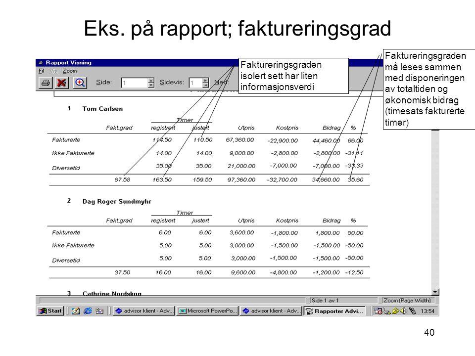 40 Eks. på rapport; faktureringsgrad Faktureringsgraden isolert sett har liten informasjonsverdi Faktureringsgraden må leses sammen med disponeringen