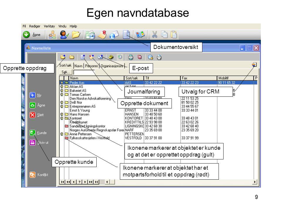 9 Egen navndatabase Ikonene markerer at objektet er kunde og at det er opprettet oppdrag (gult) Ikonene markerer at objektet har et motpartsforhold til et oppdrag (rødt) Opprette oppdrag Opprette dokument Journalføring Dokumentoversikt Utvalg for CRM Opprette kunde E-post