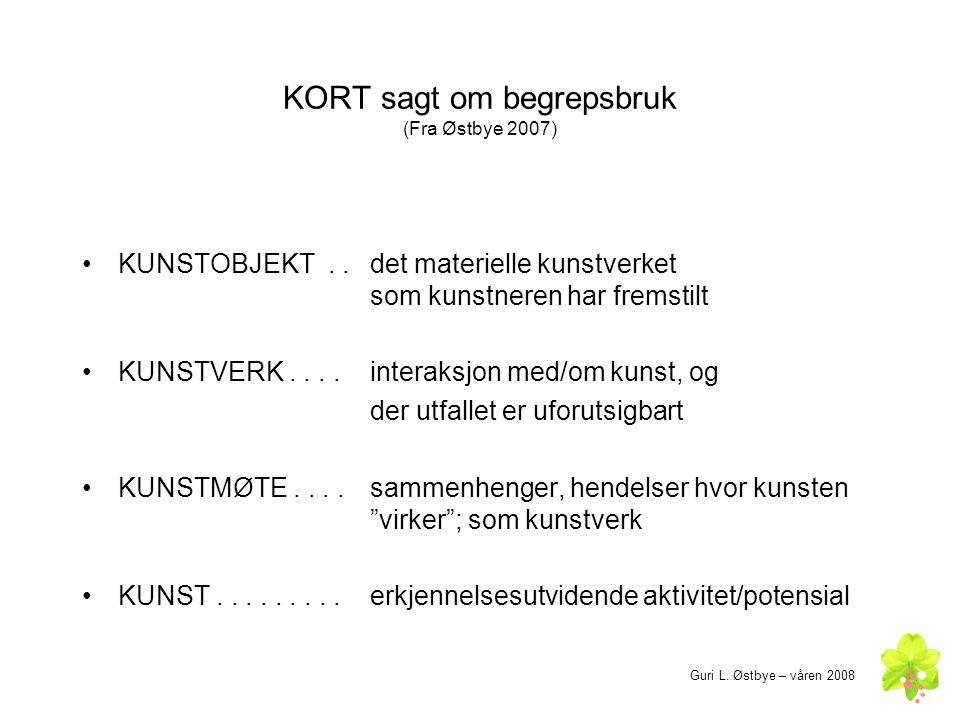 KORT sagt om begrepsbruk (Fra Østbye 2007) •KUNSTOBJEKT.. det materielle kunstverket som kunstneren har fremstilt •KUNSTVERK.... interaksjon med/om ku