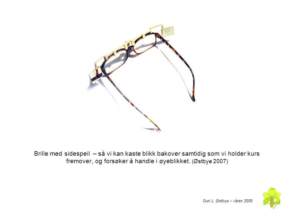 Brille med sidespeil – så vi kan kaste blikk bakover samtidig som vi holder kurs fremover, og forsøker å handle i øyeblikket.