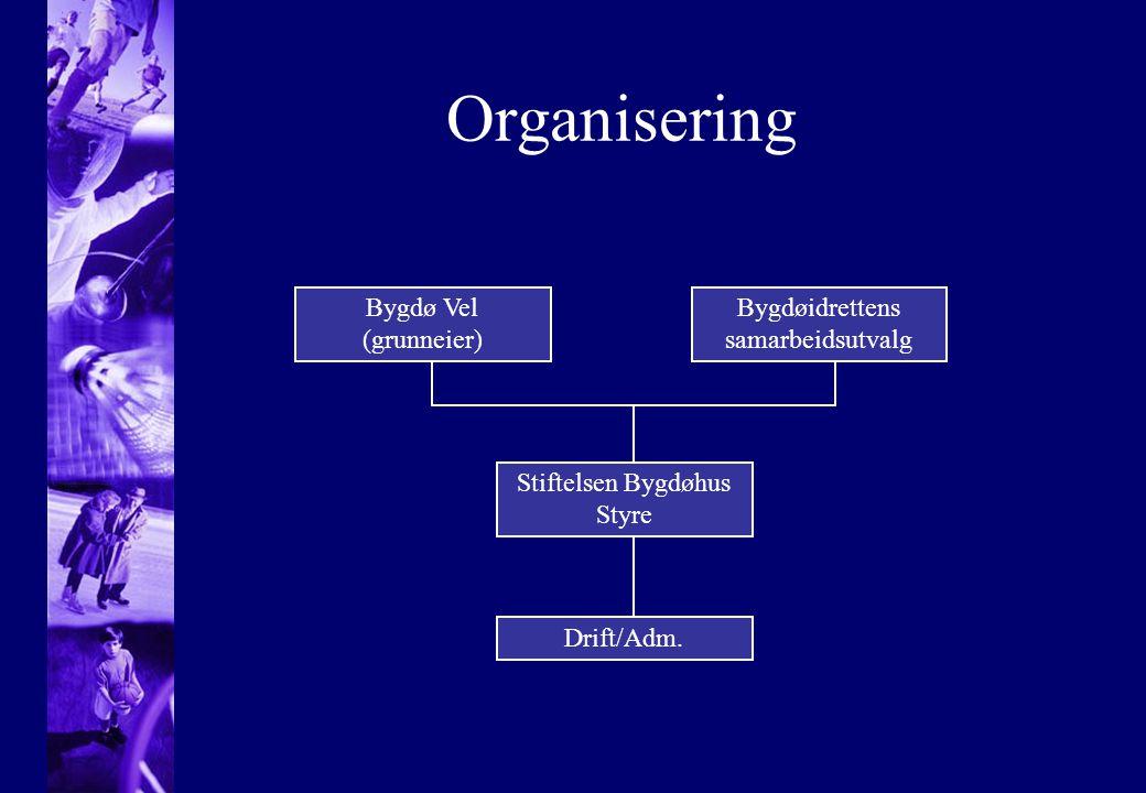 Organisering Bygdø Vel (grunneier) Bygdøidrettens samarbeidsutvalg Stiftelsen Bygdøhus Styre Drift/Adm.