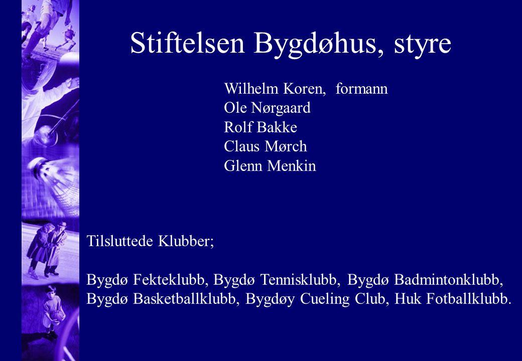 Stiftelsen Bygdøhus, styre Wilhelm Koren, formann Ole Nørgaard Rolf Bakke Claus Mørch Glenn Menkin Tilsluttede Klubber; Bygdø Fekteklubb, Bygdø Tennis