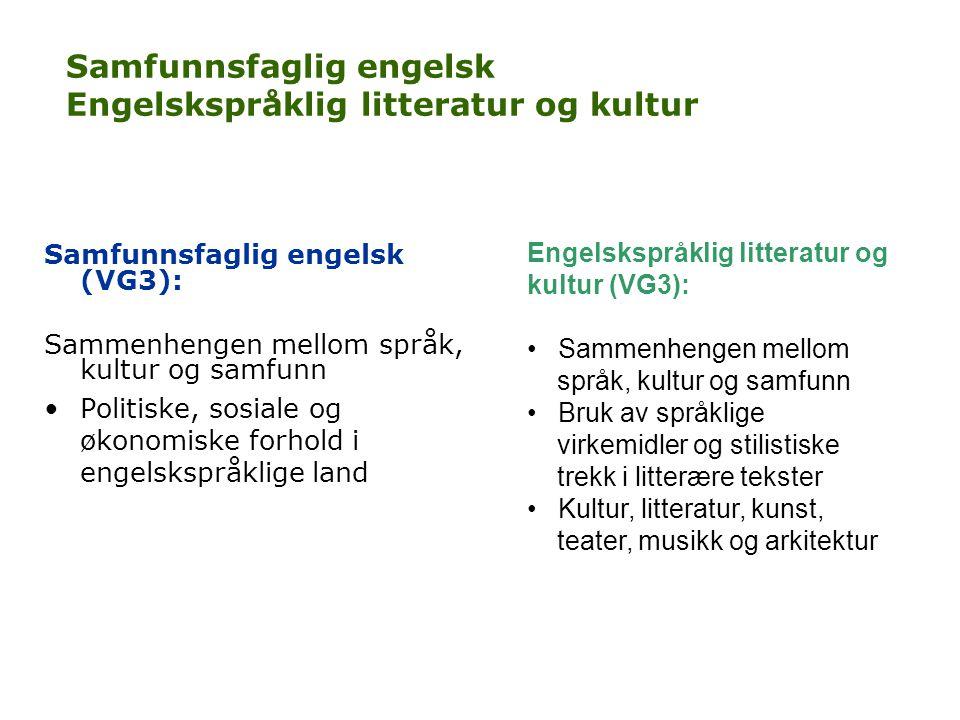 Samfunnsfaglig engelsk Engelskspråklig litteratur og kultur Samfunnsfaglig engelsk (VG3): Sammenhengen mellom språk, kultur og samfunn •Politiske, sos