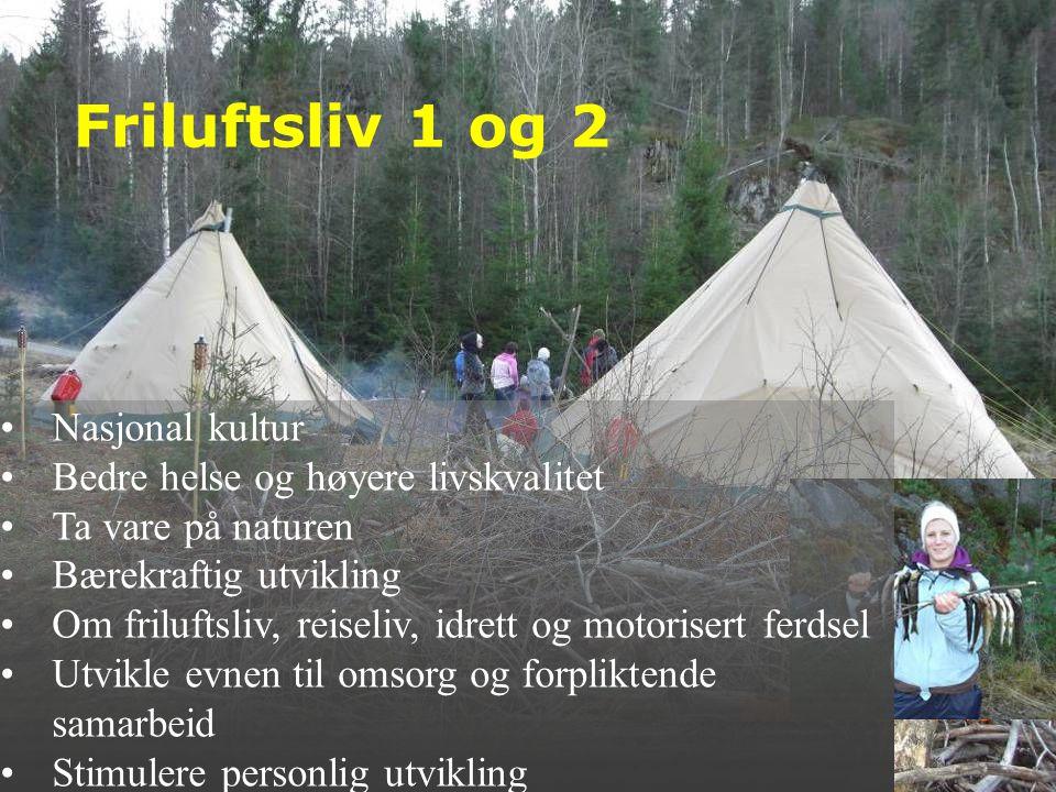 Friluftsliv 1 og 2 •Nasjonal kultur •Bedre helse og høyere livskvalitet •Ta vare på naturen •Bærekraftig utvikling •Om friluftsliv, reiseliv, idrett o