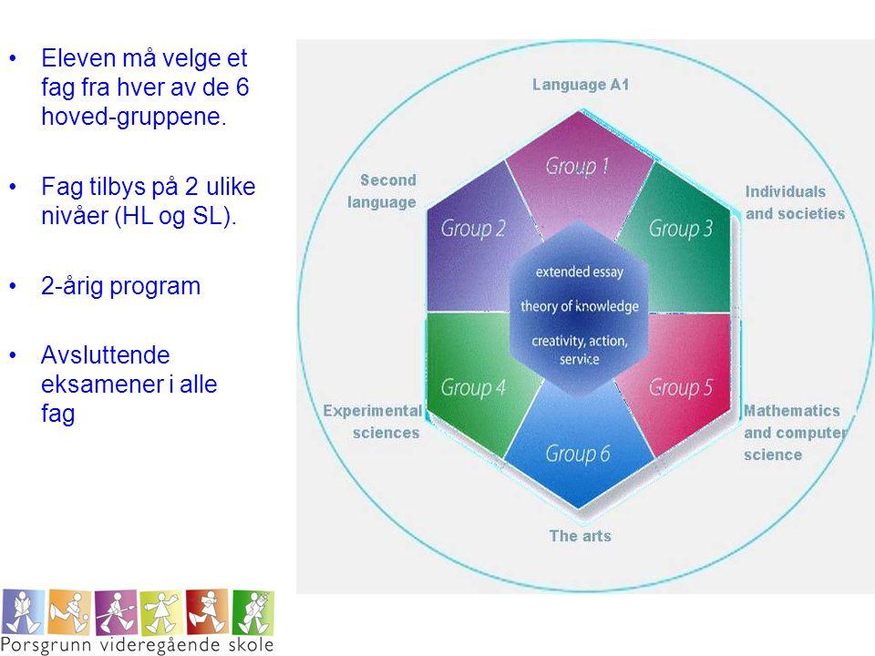 •Eleven må velge et fag fra hver av de 6 hoved-gruppene. •Fag tilbys på 2 ulike nivåer (HL og SL). •2-årig program •Avsluttende eksamener i alle fag