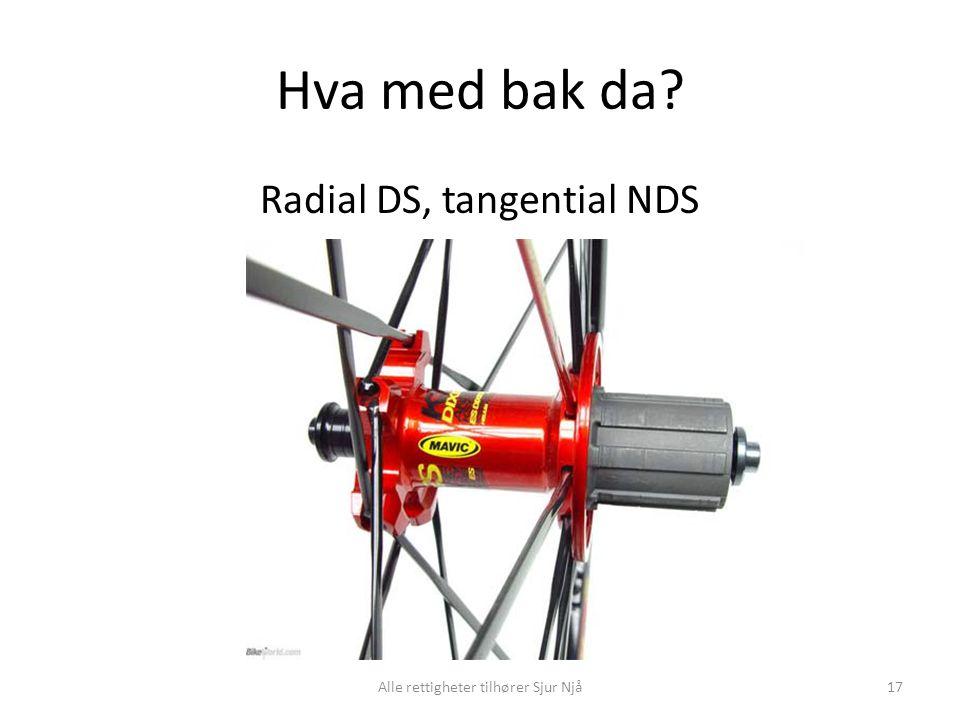 Hva med bak da? Radial DS, tangential NDS 17Alle rettigheter tilhører Sjur Njå